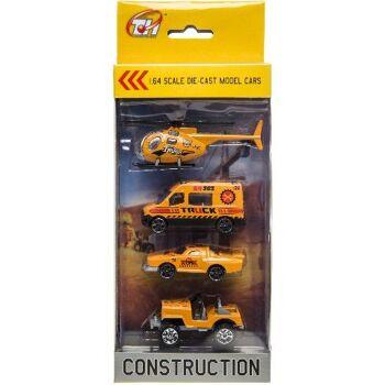 21-3026, Metall Baustellenfahrzeuge 4er Set mit Hubschrauber, LKW, Metallauto, Modellfahrzeuge