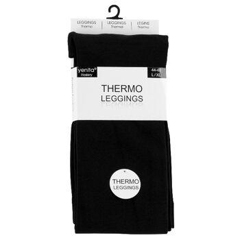 Yenita® Damen THERMO-Leggings innen kuschelig angeraut in schwarz