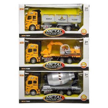 21-3116, Metallfahrzeuge LKW 23 cm, Baufahrzeuge Kranwagen, Muldenkipper, Betonmischer, CONSTRUCTION TRUCK Modellfahrzeug, Metallauto