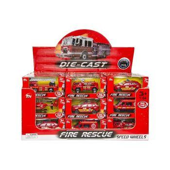 21-3248, Metallfahrzeuge Feuerwehr, Auto, LKW, Leiterwagen, Hubschrauber, Modellfahrzeug, Metallauto