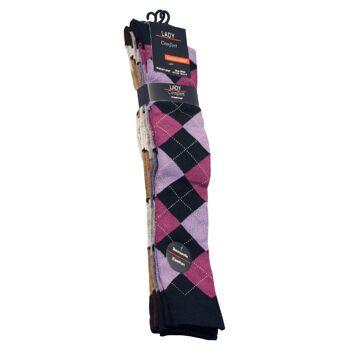 Damen Baumwoll-Kniestrümpfe mit schönem Rautenmuster