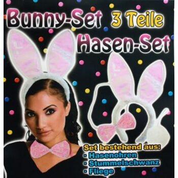 10-801411, Bunny Hasen Set 3-teilig, Ohren, Fliege, Buschelschwanz, Kostüm, Junggesellenabschied, Silvester, Party, Event, Geburtstag, Karneval, Fasching, usw