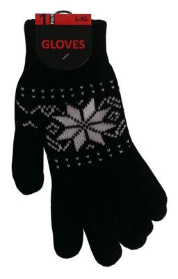 Unisex Strick-Handschuhe mit Eiskristall-Muster