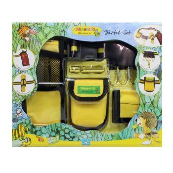 27-50997, Beluga Janosch Abenteuer Gürtel Set gelb-schwarz mit Taschenlampenhalterung, Signalpfeife