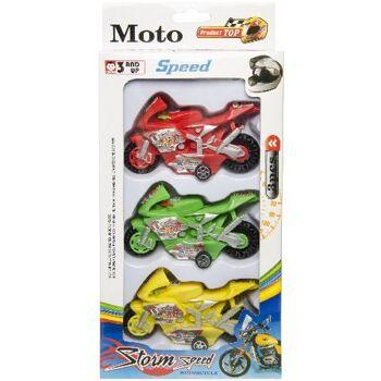 tolle Motorräder 3er Pack, Rennmachinen, mit Antrieb, Spielset, Gesellschaftsspiel, Spielfahrzeuge, Bike