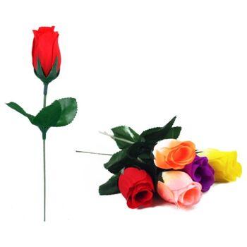 27-10150, Rosen Seidenknospe, 20cm mit Beiblatt, Kunstblume