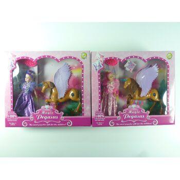 Spielset Puppe mit Einhorn und Zubehör, Pferd mit Flügeln