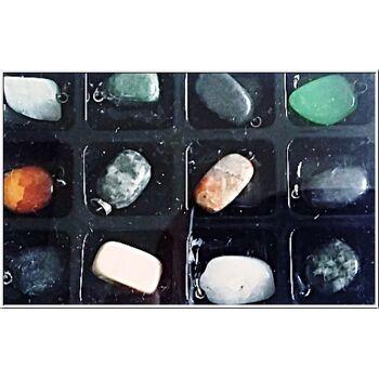 01-PO25, Echtstein Ketten Anhänger, Amethyst, Jade, Rosenquarz, Obsidian usw
