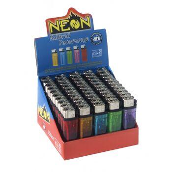 Feuerzeug Einwegfeuerzeug Reibrad Feuerzeug Im 50er Verkaufsdisplay in 5 verschiedene Farben Transparent