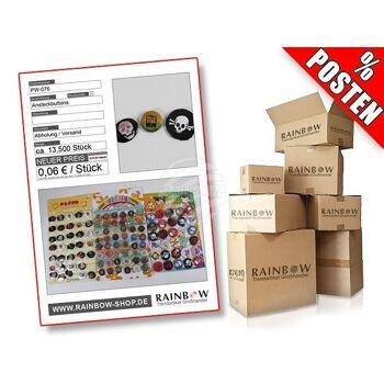 Posten mit ca. 13500 Stck Ansteck Buttons verschiedener Motive.