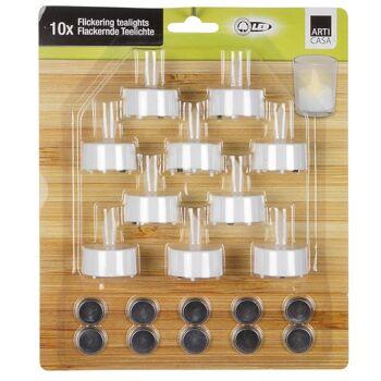 28-016856, Teelicht LED 10er Set, flackernd elektrisches Teelicht, Kerze
