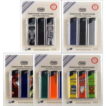 28-148543, Feuerzeug elektronisch 3er Pack, Elektronikfeuerzeug