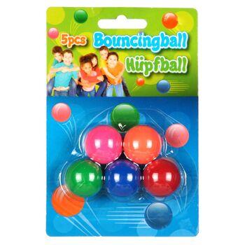 28-564807, Flummiball 25mm 5er Pack, Dropsball Gummiball, Springball, Vollgummiball oder Hüpfball