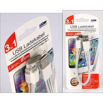 28-770065, USB-Ladekabel 3 in 1, 20 cm, kompatibel mit, IPhone 4-6 plus, IPad 1-4, IPad Nibi, IPod Touch und vielem mehr