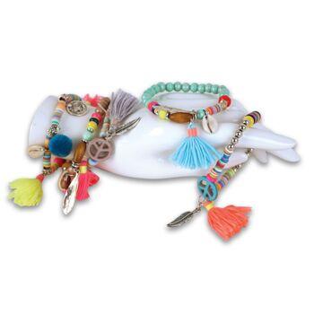 Armbänder Armketten Armschmuck Accessoires Beads Hippie Ethno Festival Style Feder Perlen Stretch Armband
