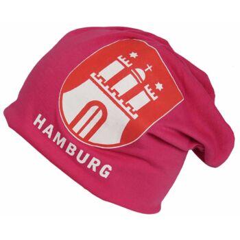Beanie Mütze Hamburg Wappen Sommer Trend Leichter Jersey Baumwolle