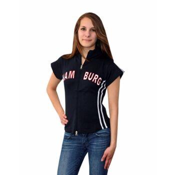 Damen Zip Top mit Hamburg Schriftzug aus Baumwolle, verschiedene Farben