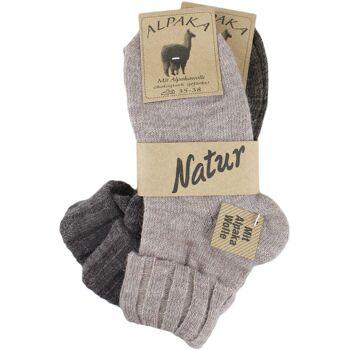 Alpakasocken mit Umschlag, Damensocken, Wolle