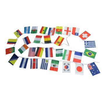 Sehr lange Flaggen-Girlade mit 32-Ländern, 10,5m Länge