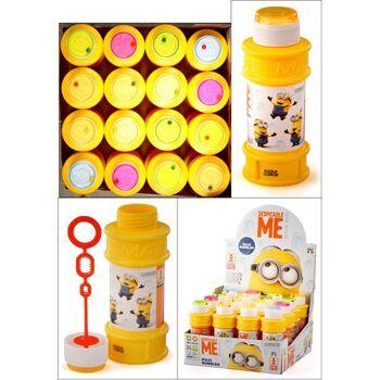28-061902, Seifenblasen Minions 175 ml, mit Geduldspiel, Geduldsspiel, Seifenblasenspiel