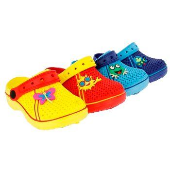 28-180007, EVA Kinderclogs mit Stickern, mit Riemen, Kinderschuh, Saunaschuh, Badeschuh, Freizeitschuh, Strandschuh