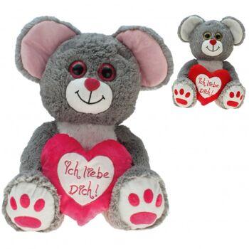 10-181900, Plüsch Maus 20 cm, mit Herz