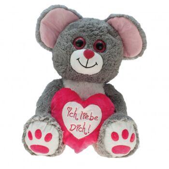 10-181920, Plüsch Maus 30 cm mit Herz