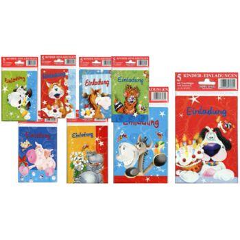 12-999073, Kindergeburtstag Einladung 5er Pack