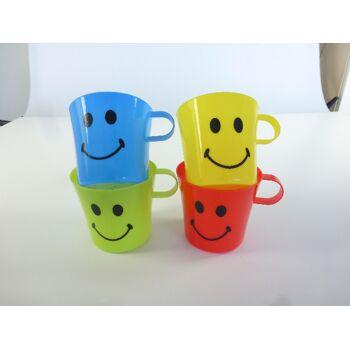 12-901766, Kinderbecher 4er Set unzerbrechlich, mit Smile Gesicht, mit Henkel
