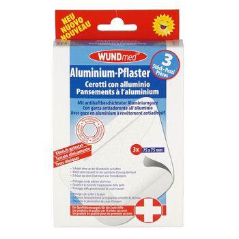 28-624769, Aluminium-Pflaster 3er Pack, luftdurchlässig, antifhaftbeschichtete Aluminiumgaze, klinisch getestet