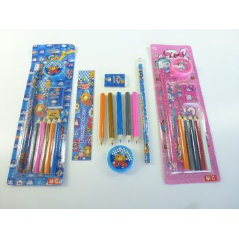Schreibset 9-teilig, Malset mit Buntstiften, Radiergummi, Lineal, Bleistift, usw.