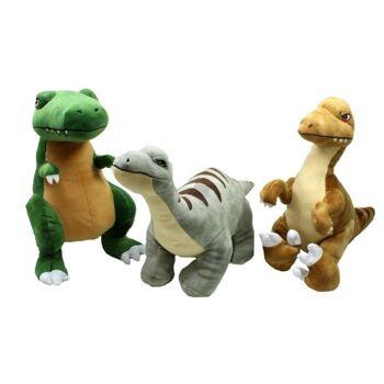 27-31272, Plüsch Dinosaurier 50 cm, T-Rex, Langhals und Raptor Zootier, Wildtier