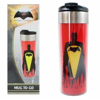 27-48412, Batman vs. Superman Coffee To Go Becher Edelstahl ca 400 ml Thermotasse 'Batman - Bat Signal'