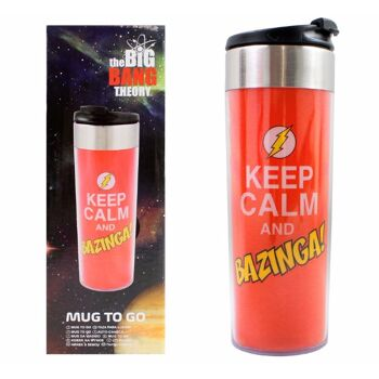 27-48411, The Big Bang Theory Coffee To Go Becher Edelstahl 400 ml Thermotasse 'Keep Calm and Bazinga', Thermobecher