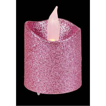 28-419626, LED Teelicht mit Glitter, flackernd, Teelichtkerze