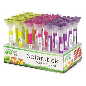 28-800175, LED Solarlampe Blume 36 cm, auch Gartenlampe, Gartenlicht, Partylicht, Wegelampe, Dämmerungsschalter