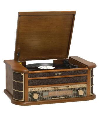 Denver MCR-50MK2 Retro Plattenspieler aus Holz mit Radio CD Kassette USB MP3