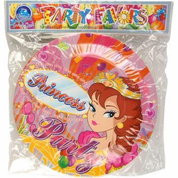 28-083012, Partyteller Princess 12er Pack, 23 cm, Pappteller, Einweggeschirr, Partygeschirr