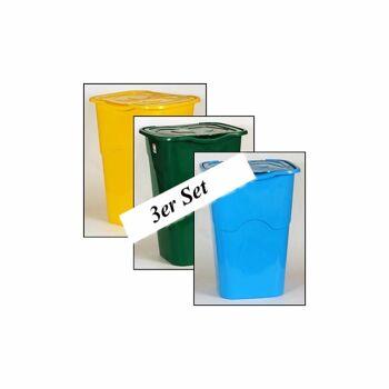 28-014370, Abfallbehälter 3er Set, 50 Liter, Mülleimer, Müllbox