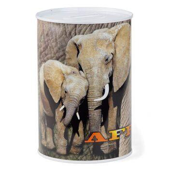 28-670640, Metall Spardose 15 cm, Motive Afrika mit Wildtiere, Zootieren, usw