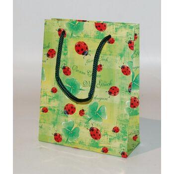 12-680012, Geschenktasche klein lack Käfer grün, statt 1,29 Geschenktüte, Geschenkbeutel