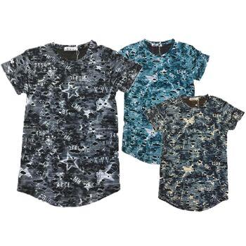 Kinder Jungen Shirt T-Shirt Shirts Oberteil Kindershirts Destroyed Used Look Sterne - 5,89 Euro