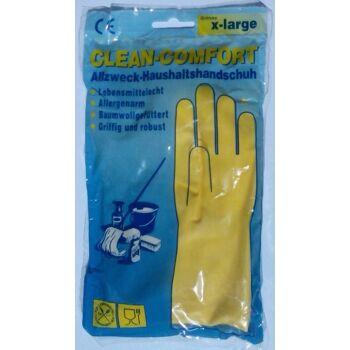 12-1003450, Gummihandschuhe XL Latex mit Fütterung, Allzweck Haushaltshandschuhe, Lebensmittelecht, Allergenarm, Baumwollgefüttert