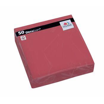 12-217686, Fasana DecoSoft Dinnerservietten 50er Pack, 40 x 40 cm. Farbe bordeaux