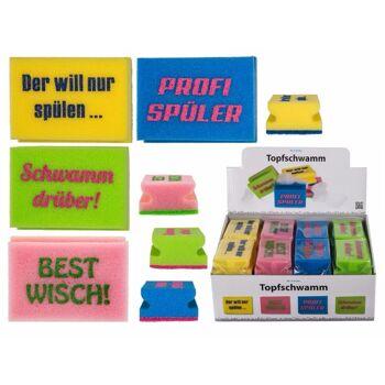 12-713130, Schaumstoff-Topfschwamm mit Spruch, Slogans, Reinigungsschwamm, Putzschwamm