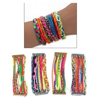 27-48725, Ibiza Armband FashionStyle, TOP TRENDY, aus diversen Bändern aus Metall, Stoff usw