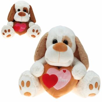 10-146060, Plüsch Hund mit Herz 38 cm, Plüschhund, Kuscheltier, Spieltier