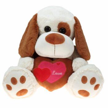10-146090, Plüsch Hund mit Herz 55 cm, Plüschhund, Kuscheltier, Spieltier