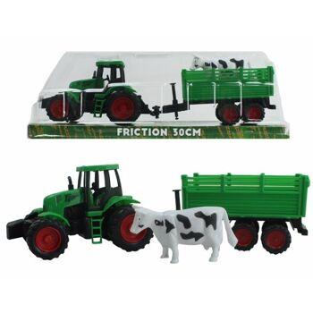 27-45190, Farmer Traktor mit Antrieb, mit Anhänger mit Tier, Bauernhof