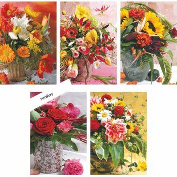 28-495101, Karten Blanco Blumen Geschenkkarten, Glückwunschkarten